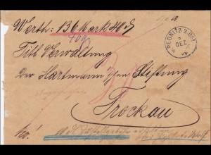 Bayern: 1890: Wertbrief von Pegnitz nach Trockau