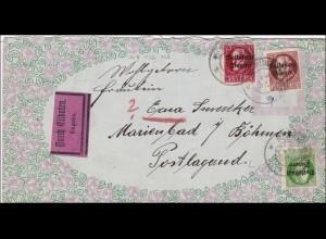 Bayern: 1919: Eilboten Brief von München nach Marienbad (Böhmen)