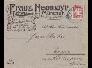 Bayern: 1902: Brief vom Tuchversandhaus in München nach Engen in Baden