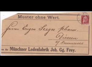 Bayern: 1903, Muster ohne Wert, Vorderseite, Lodenfabrik