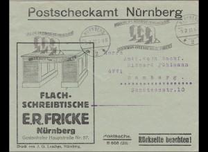Bayern: 1922: Brief Nürnberg Bamberg Schreibtisch Werbestempel Gewerbeschau