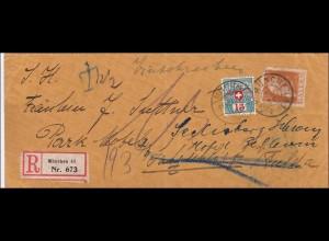 Bayern: Einschreibebrief 1912 von München in die Schweiz - Nachtaxiert