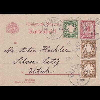 Bayern: Kartenbrief 1899von Kolmberg nach USA