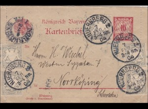 Bayern: Kartenbrief 1904 von Nürnberg nach Schweden