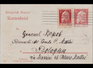Bayern: Kartenbrief 1912 von Nürnberg nach Italien