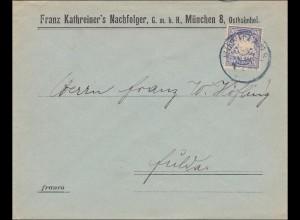 Bayern: 1900: Brief von München- Ostbahnhof nach Fulda