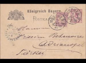 Bayern: 1887, Ganzsache mit Wz von München in die Türkei