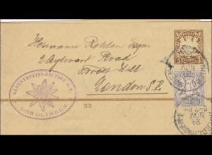 Bayern: 1900: Streifband vom Alpenverein (Edelweiss) Nördlingen
