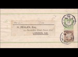 Bayern: 1893: Streifband von Regensburg nach London