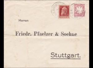 Bayern: 1911 Bahnpoststempel auf Brief nach Stuttgart