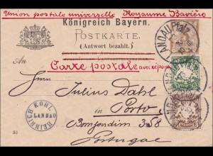 Bayern: 1894 Postkarte, bezahlte Antwort von Landau (Pfalz) nach Portugal