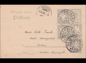 Bayern: 1906, Ganzsache von Heiden in die Schweiz