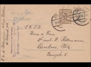 Bayern: 1918: Ganzsache über Feldpost nach Landau (Pfalz)