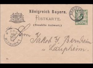 Bayern: 1900, Ganzsache von Erolzheim nach Laupheim