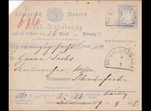 Bayern: 1878 Post-Anweisung von Sommerhausen nach Schweinfurt