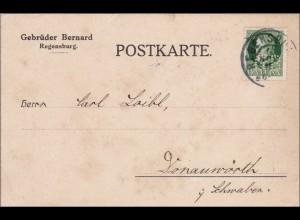 Bayern: 1916, Postkarte von Regensburg nach Donauwörth - Marke gelocht !!!