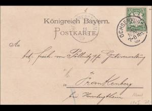 Bayern: 1899, Postkarte von Ochsenfurt nach Frankenberg MiNR. 61xI