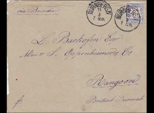 Bayern: 1882, Brief von Nürnberg nach Rangoon (Britisch Burma) über Brindisi