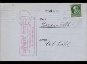 Bayern: 1917, Postkarte München mit Erlaubnisschein Lebensmittel u. Futtermittel