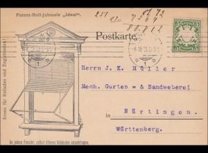 Bayern: 1910, Postkarte von München nach Nürtingen, Rollladen, Jalousien