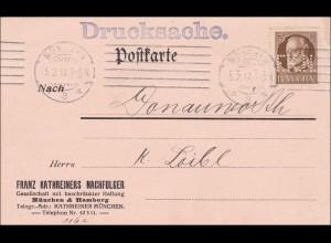Bayern: 1917, Drucksache Postkarte von München nach Donauwörth - Weinflaschen