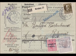 Bayern: 1915, Postpaketkarte Nürnberg nach Bukarest -rumänische Zusatzfrankatur