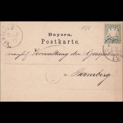 Bayern: 1876, Postkarte im Ortsverkehr Bamberg