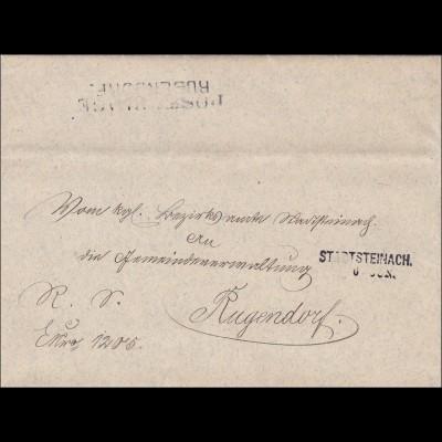 Bayern: 1882, Brief aus Stadtsteinach nach Rugendorf mit Schreiben als Inhalt