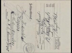 Bayern: 1917, Feldpostbrief Regimentsstab Musik