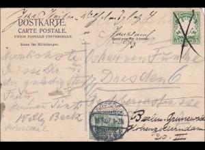 Bayern: 1907, Postkarte nach Dresden von der Odeon Bar in München