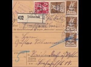 Bayern: 1920 Paketkarte Tirschenreuth mit Posthilfsstelle: Seltener Stempel
