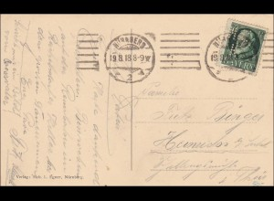 Bayern: 1918, Postkarte Abbildung Wittelsbacher-Hohen Zollern Perfin