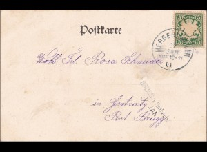 Bayern: 1901, Postkarte Brugg b. Röthenbach mit Kinderabbildung , Hamburg