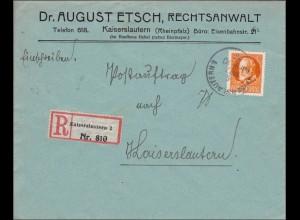 Bayern: 1915, Postauftrag innerhalb von Kaiserslautern