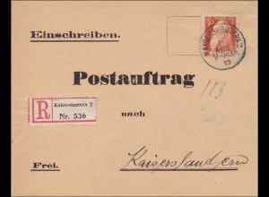 1913, Postauftrag innerhalb von Kaiserslautern