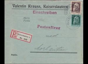 Bayern: 1913, Postauftrag innerhalb von Kaiserslautern