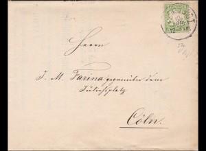 Bayern: 1880, Brief mit Schreiben im A3 Format von Regensburg nach Cöln