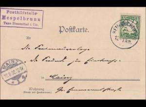 Bayern: 1912, Postkarte Schloss Mespelbrunn (Posthilfsstelle) nach Mainz