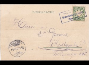 Bayern: 1902, Drucksachenkarte Oberallmannshausen nach Karlsruhe