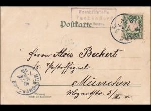 Bayern: 1900, Postkarte von Vachendorf nach München, Seltener Stempel