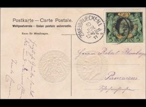 Bayern: 1911, Postkarte von Zweibrücken