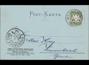 Bayern: 1904, Postkarte von München nach Krumbach Stadt