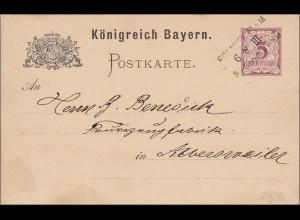 Bayern: 1883, Postkarte von Frankfurt/M nach Albersweiler