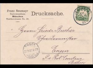 Bayern: 1902, Drucksache Postkarte von München nach Engen - Tuchversandhaus