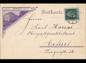 Bayern: 1912 Postkarte von München nach Erfurt - Lebensversicherung Arminia