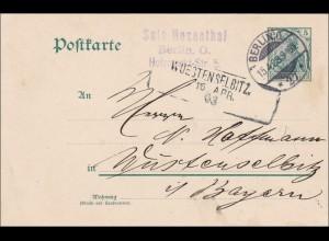 Bayern: 1909, Postkarte von Berlin nach Wüstenselbitz