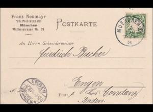 Bayern: 1904, Postkarte Tuchversandhaus München nach Engen