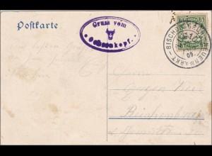 Bayern: 1909, Postkarte Bischofsgrün -Neuenmarkt Ochsenkopf