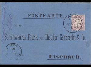Bayern: 1881 Postkarte von Pirmasens nach Eisenach - Schuhwaren