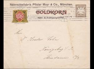 Bayern: Ganzsachenumschlag von München nach Königsberg /Goldkorn - Nährmittel